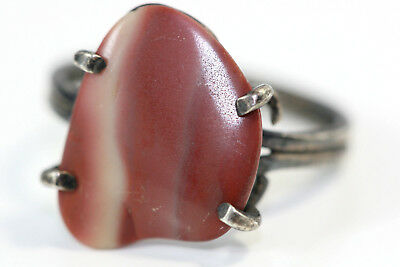 "D345 OPUS Sterling Agate Ring 2g 925 top 5/8"" wide size 5"