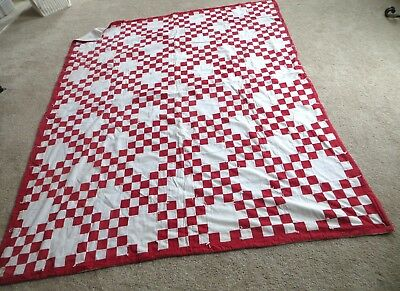 Vintage red and white QUILT 5'X6'
