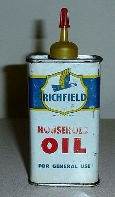 Vintage RICHFIELD Household Oil 4 Oz Can w/ Eagle Logo Graphic - Handy Oiler Tin