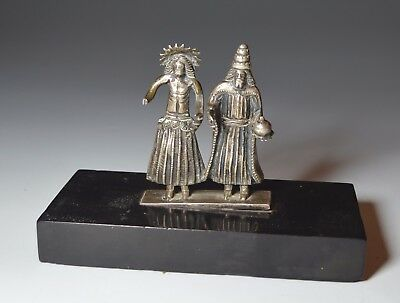 A Rare Andean small pair of Silver nativity figures C 16th Century Peru