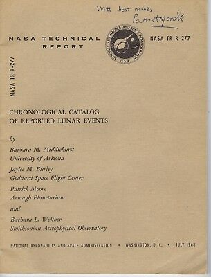 NASA Chronological Catalog of Reported Lunar Events AUTOGRAPHED by Patrick Moore