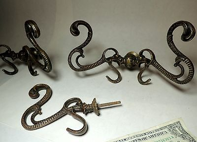 Superb Antique vtg 1800s Victorian Bronze Double HOOKS Set Serpent Scales Design