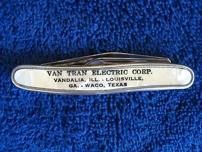 Vintage Pocket Knife Advertising Piece 3 Inch Colonial Mother Of Pearl