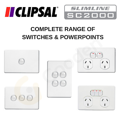 Clipsal Slimline Switches & Powerpoints - Complete Range