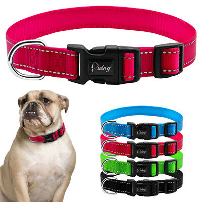 Nylon Reflective Pet Dog Collars for Small Large Dogs D ring Schnauzer Labrador