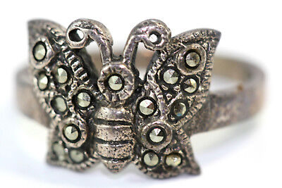 "D346 Butterfly Marcasite Sterling Ring 4.2g 925 1/2"" wide size 8"