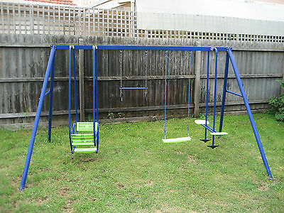 Hills Playtime Swing Set - 4 Bay - Blue & Green - New & Used Combination