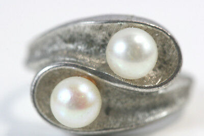"D348 Pearl Sterling Ring 4.9g 925 top 1/2"" wide size 6 1/2"