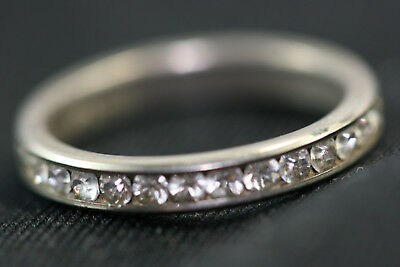 "D352 CZ Eternity Sterling Ring 1.9g 925 1/8"" wide size 6 1/2"