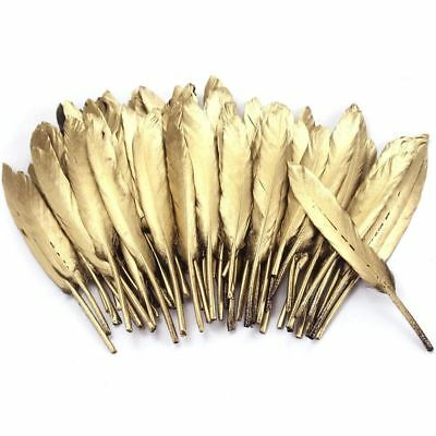 72pcs 10-15cm Beautiful Gold Feather DIY Craft Wedding Party Decor Hair Ornament