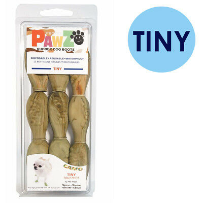 PAWZ Rubber Dog Boots TINY Camo 12 Per Pack Disposable Reusable Waterproof Shoes