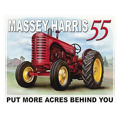Massey Harris 55 Tractor Put More Acres Behind You Retro Decor Metal Tin Sign