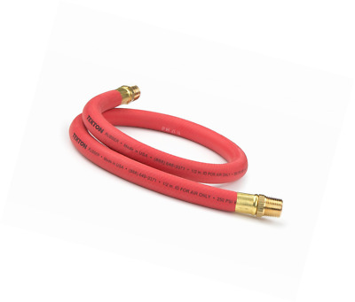 TEKTON 46362 1/2-Inch I.D. by 3-Foot 250 PSI Rubber Lead-In Air Hose with 1/2-In