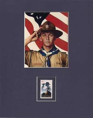 Norman Rockwell - Boy Scout & American Flag - Frameable Postage Stamp Art - 0286