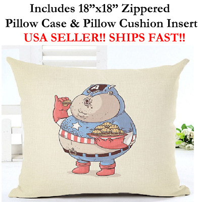 """18x18 18""""x18"""" 18in FAT CAPTAIN AMERICA SHIELD Pillow Case & Cushion Marvel DC"""