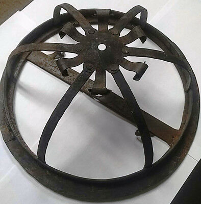 1920s Wrought Iron Flush Mount Spanish Revival Outdoor Lamp