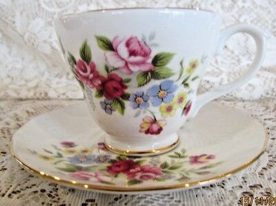 Vintage English Duchess Bone China Teacup and Saucer in Excellent Condition
