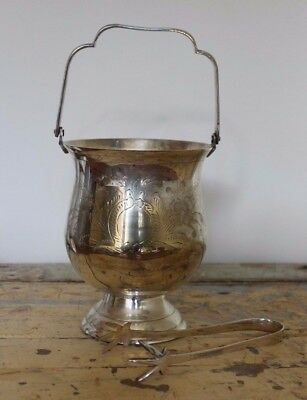 Vintage Silver Plated Pedestal Ice Bucket with Tongs