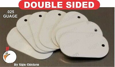 White Aluminum Dye Sublimation Dog Tag Blanks -  DOUBLE SIDED - 25 PIECE LOT