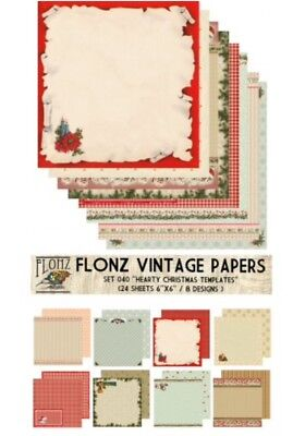 """FLONZ 6""""x6"""" card making double sided paper packs 24 sheets CHRISTMAS CARDS"""