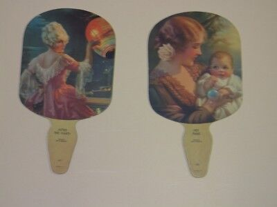 TWO 1920s HAND FANS ~ ARTWORK by GENE PRESSLER ~ AFTER THE PARTY & HER PRIDE