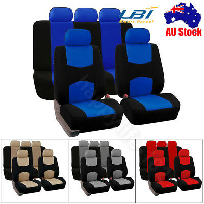 9pcs/Set Car Seat Covers Red Set For Auto Front Back w/Cushion Cover/Head Rests