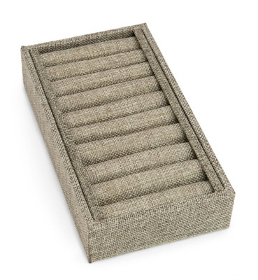 Burlap Slotted Ring and Bangle Display Tray (9 Slot)