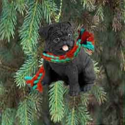 1 X Pug Miniature Dog Ornament - Black by Conversation Concepts