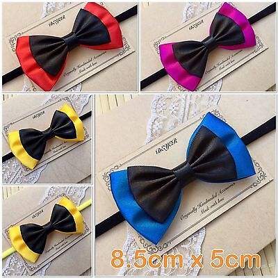 4 Colours Emma Wiggle Satin Bow Soft Elastic Headband Hair Wiggles Birthday Gift
