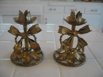 Beautiful Vintage Hollywood Regency Italian Gold Toleware Tole Bow Candleholders