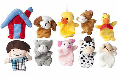 10x Old MacDonald Farm Animals Finger Puppets Kids Story Telling Party Favor