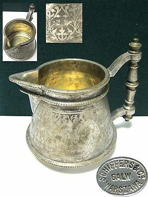 Antique Creamer WARSZAWA  WARSAW Fraget SCHIFFERS Co BRASS SILVER PLATED