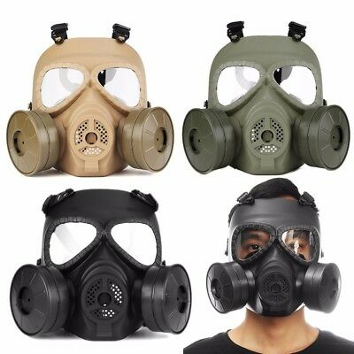 Gas Mask Double Filter Fan CS Edition Perspiration Dust Face Guard Breathable #