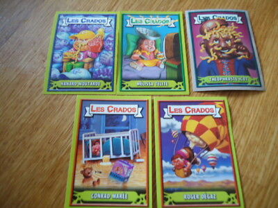 LOT 5 Images * Les CRADOS 3 c* 2004 album card Sticker FRANCE Garbage Pail Kid