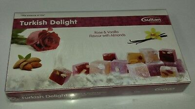 Turkish Delight Rose & Vanilla Flavour with Almonds 350g  Gift  Box