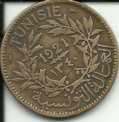 TUNISIA 2 FRANCS 1921  KM#248,  (French PROTECTORATE)