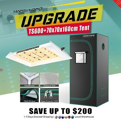 Reflector 300W LED Grow Light Lamp Veg Bloom+70×70×160cm Indoor Grow Tent Kit