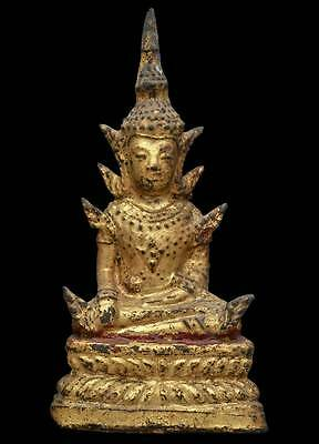 Genuine Antique Bronze Gilt Buddha Rattana 18th C Thai Amulets Statues Rare