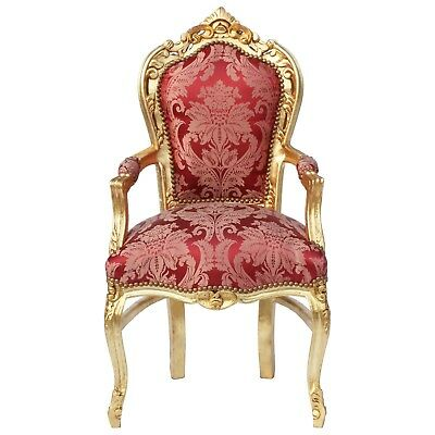 Baroque Style Dining Room Chair Armrest Gold wood Frame Two Tone Red Fabric