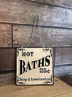 Vintage Style Cast Iron Hot Baths Sign Wall Hanging C/w Chain