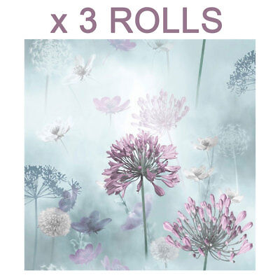 Duck Egg Flower Wallpaper Lilac Floral Spring Meadow Field Magical x 3 Rolls