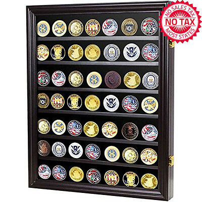 Military Challenge Coin Display Case Cabinet Rack Shadow Box Wood Up To 56 Coins