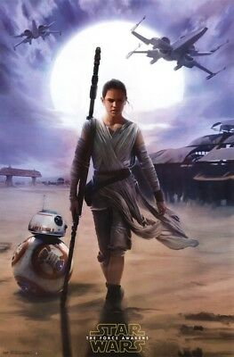 """Star Wars The Force Awakens Rey Wall Poster 22.375"""" x 34"""" Free shipping"""