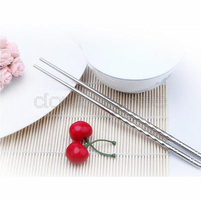 2 Pairs of Chopsticks Metal Reusable Chinese Style Stainless Steel Chopsticks