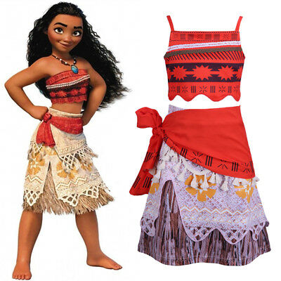Kids Girls Moana Dress Princess Fancy Cosplay Costume Party Outfits Age 4-10 Y