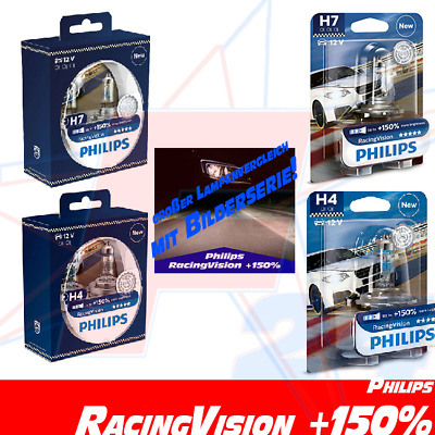 PHILIPS RacingVision +150% mehr Licht ALLE H4 H7 DUO Blister 1 st. - 2 st.