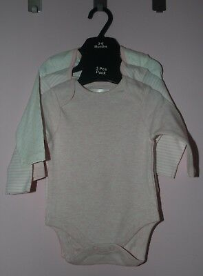 Baby Girl's 3pk of Ex-Next Long-sleeved Bodysuits/Vests - NEW - 3-6 months