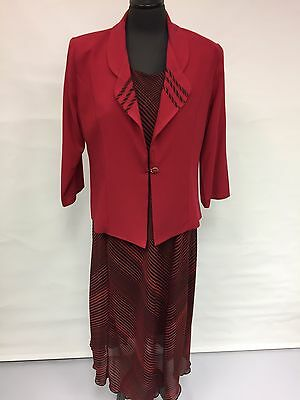 Ladies Dress & Jacket Suit, Red .uk Sizes From 12 To 12 To 26,