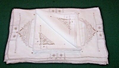 6 Exquisite Vintage Linen Placemats, Napkins, Floral Embroidery, Drawnwork, 1930