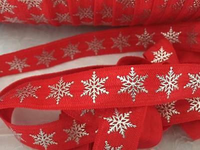 """1m/5m Silver Foil Snowflake on Red FOE 5/8"""" Fold Over Elastic DI Hair Ties"""